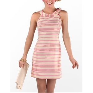 Lilly Pulitzer Striped Elias Bow Dress Gold Pink